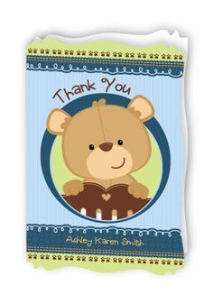 Thank you cards in the adorable Baby boy #Teddybear theme. #BigDotOfHappiness #HappyDot #babyshowerthankyous