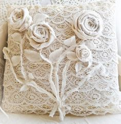 fabric roses, lace cushions, lace pillow