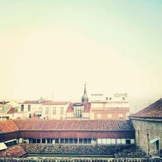 Vistas desde la azotea de LASEDE COAM, nueva sede del Colegio de Arquitectos ~ Calle Hortaleza, Madrid.
