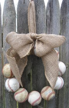 Nice decoration for a baseball themed party. Burlap Baseball Love Wreath by 1BabyToes1 on Etsy, $48.00