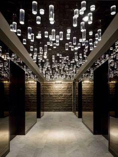 Visually and physically textural elevator lobby