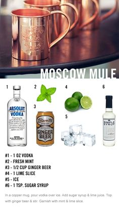 moscow mule drink recipe    http://uncovet.tumblr.com/post/41232510120/1-one-oz-vodka-2-fresh-mint-3-half-cup