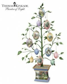 Thomas Kinkade Easter Blessings Heirloom Porcelain Egg Tabletop Tree #Easter