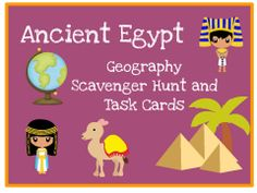 Ancient Egypt Geography Task Cards: Includes scavenger hunt task cards, answer sheets, answer keys, ppt and more.  Great for interactive student notebooks!!!!!