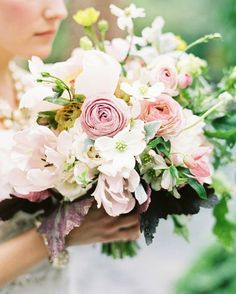 Ivory, lavender, rose and green, fun summer bouquet