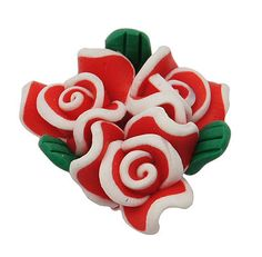 4 RED WHITE and GREEN Polymer Clay Triple Rose Flower Beads by SmartParts, $2.99  Valentine's Day
