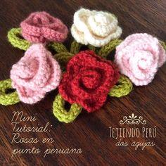 Nueva sección en nuestro canal de YouTube: mini tutoriales! Empezamos con estas rosas tejidas en punto peruano en dos agujas o palitos :)  Aquí lo pueden ver: http://youtu.be/DldbFKcNNWE Todo lo que necesitan saber para tejerlas lo encuentran en el video...