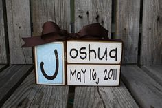 Baby boy girl name birth announcement blocks wood custom nursery gift shower wedding  . . . great gift or for yourself . . . so very CUTE via Etsy wood, baby gifts, names, baby boys, nurseri, babi boy, shower, babi gift, births