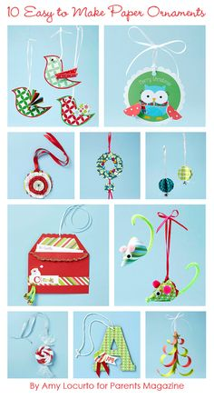 So cute! 10 Easy to Make Paper Christmas Ornaments