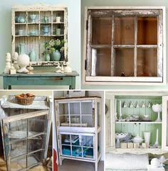 cabinets, frames, window frame, old windows, decor project, hous, frame cabinet, diy window, decor idea