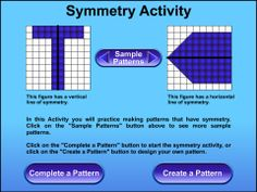 A maths symmetry activity where users complete the mirror image by adding in squares.