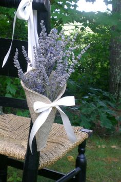 Khaki burlap pew / chair cone with tying ribbons by NutfieldWeaver, $12.00
