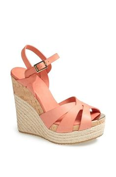 Cute for spring! Coral Jimmy Choo wedge sandal.