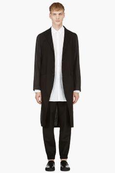 ANN DEMEULEMEESTER Black Extra Long Drawstring Tail Jacket