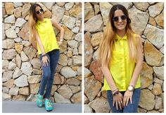 ♥ LOOK OF THE DAY 01-10-2012 ♥  ♥ Camisa sin Mangas con tachitas en cuello  ♥ Jegging Azul Liso  ♥ Saona Birken Sandals Acqua