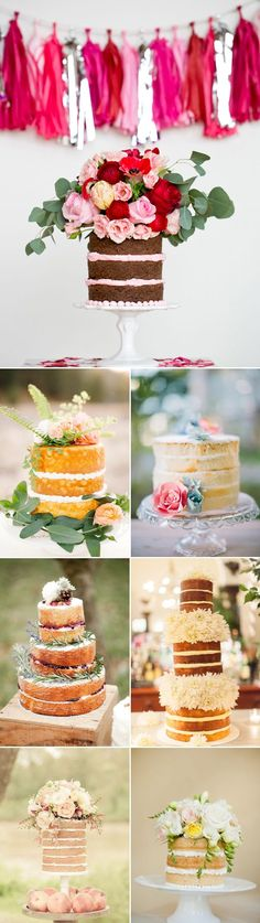 Naked Wedding Cakes with fresh flowers..love it, but not for the actual wedding..maybe the shower. #wedding #cakes #bridal