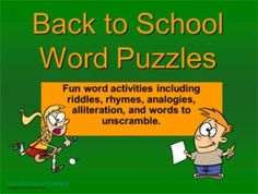 This 36-slide PowerPoint presentation includes lots of puzzles to get kids thinking and talking during those first few days of school. With a back to school theme, the puzzles include riddles, rhymes, analogies, alliteration, and words to unscramble. $