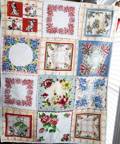 Vintage Hankie Quilt. A quilt made up from a collection of vintage handkerchiefs.   Includes a full tutorial on how to work with the hankies.