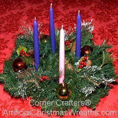 Christmas Advent Wreath - 2014 - The Advent Wreath, or Advent Crown, is a Christian tradition that symbolizes the passage of the four weeks of Advent in the liturgical calendar of the Western church. #AdventWreath
