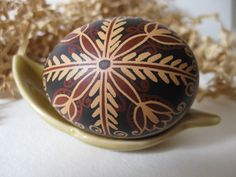 Trypillian Egg hand painted batik style chicken egg, Ukrainian Easter egg pysanka