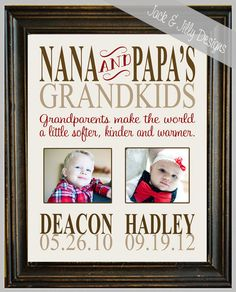 Personalized DIGITAL GRANDPARENT Print with PHOTO  - with Names and Birthdates - Completely Customizable - Mother's Day