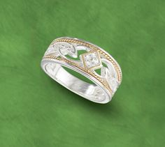 Golden Cord Ring: Celtic knotwork in 10k gold, sterling silver and diamonds