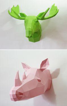 3D geometric paper animal sculptures.