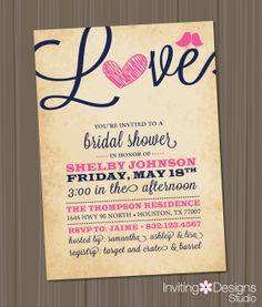 Bridal Shower Invitation, Love, Birds, Heart, Navy Blue, Pink, Rustic, Customize Your Color (PRINTABLE FILE)