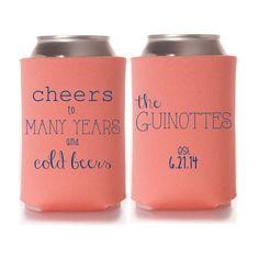 Cheers to Many Years and Cold Beers wedding koozies by yourethatgirldesigns on etsy, wedding favors, wedding koozies, koozie favors, wedding cozy, wedding koozy