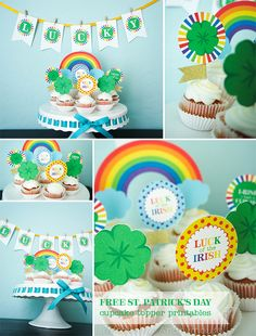 St. Patrick's Day Rainbow cupcake toppers FREE Printable