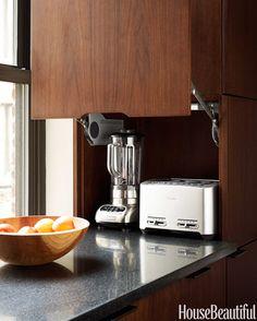 Designing a Modern Kitchen appliances, garag door, garage doors, house beautiful kitchens 2014, modern kitchens, built, door swing, kitchenaid blender, applianc garag