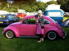 My lovely Fuschia Pink VW Beetle !(and me)