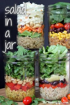 Salad-In-A-Jar in 4 international flavors with quinoa. TheYummyLife.com