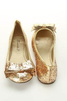 {Breckelle's Erika-23 Glitter Ballet Flats} sparkly gold cuteness!