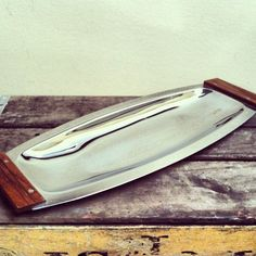 Vintage Kromex Serving Tray Chrome with wooden handles Made in USA. #owlmouthvintage