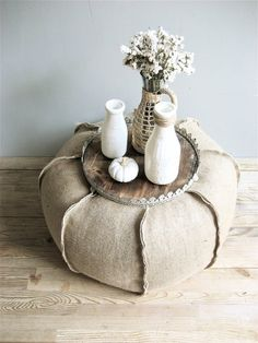 Burlap pouf with lovely little tray, beautiful contrast of materials
