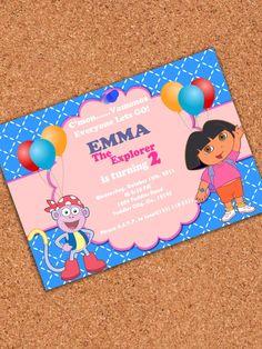 PRINTABLE INVITATION Dora Birthday Party  Dora  by AtomDesign