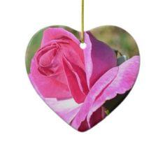 October Pink Rose Heart Ornament
