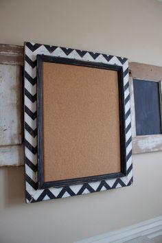 The Berkus Mod Chevron Distressed Wood corkboard
