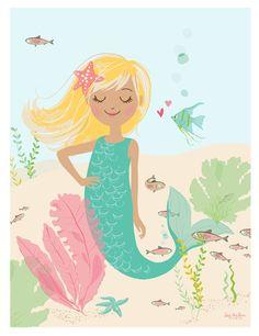 Deep Sea Cutie  mermaid print   Nursery art for by SeaUrchinStudio, $15.00