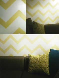 tutorial on creating a chevron wall with paint