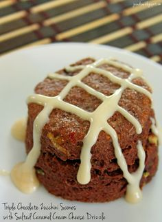 Jo and Sue: Triple Chocolate Zucchini Scones with Salted Caramel Cream Cheese Drizzle