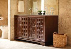 Home Decorators Collection Fairhaven Double Vanity in Dark Walnut with Guartzite Top, set against travertine tile. Beautiful! Click through to see more of this gorgeous bathroom. decor, remodel idea, cabinet vaniti, tile idea, bathroom idea, bathroom remodel, homes, condo remodel, remodel bathroom