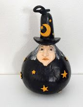 Black Witch Gourd beauti gourd, gourd art, gourd craft, craft idea, paint gourd, gourds, witch gourd, black witch
