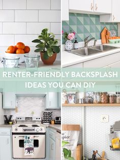 Removable backsplash ideas for renters. There are lots of ways to DIY yourself a better looking kitchen. All the temporary options and resources here!