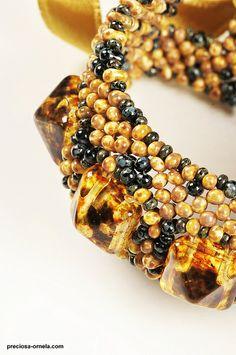 Travertine - Romana Tschunko | Flickr - Photo Sharing! preciosa ornela, jewelri idea, beadsvip design, photo share, beadingwith spike, spike bead
