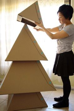 makedo christmas tree made of stacked cardboard boxes