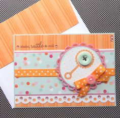 New Baby Card with Matching Embellished Envelope - Rattle N Roll. $4.50, via Etsy.