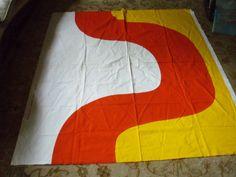 "MARIMEKKO SEIREENI FABRIC VINTAGE 70'S UNUSED 53 1/2"" x 61' YELLOW RED WHITE #Marimekko"
