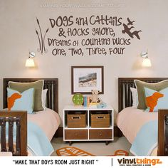 Wall Decals Nursery Hunting Fishing Ducks Baby Childrens Room - To go to sleep - Dogs and cattails Vinyl decal